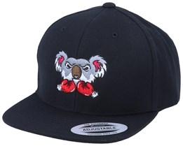 Kids Koala Bear Boxer Black Snapback - Kiddo Cap