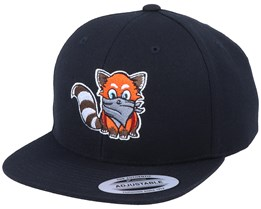 Kids Hatsie The Red Panda Black Snapback - Kiddo Cap