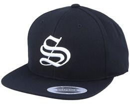 S Letter 3D Black Snapback - Iconic