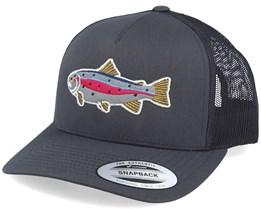 Rainbow Trout Applique Dark Grey Trucker - Hunter
