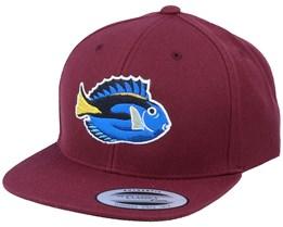 Kids Pacific Blue Tang Fish Maroon Snapback - Kiddo Cap