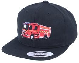 Kids Fire Truck Black Snapback - Kiddo Cap