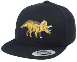 Kids Triceratops Black Snapback - Kiddo Cap