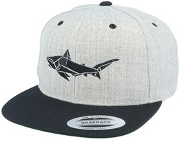Paper Shark Heather Grey/Black Snapback - Origami
