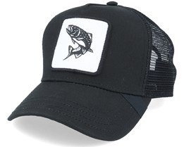Black Trout Fish Patch Black Trucker - Hunter
