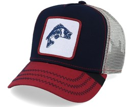 Navy Bass Fish Patch Navy/Red Trucker - Hunter