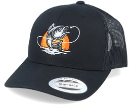 Sunset Fish Logo Black Trucker - Hunter