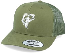 Jumping Bass Fish Olive Trucker - Hunter