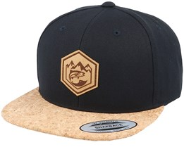 Mountain Badge Fish Patch Black/Cork Snapback - Hunter