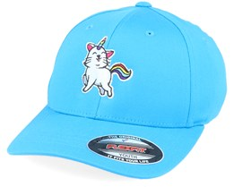 Kids Unicorn Kitty Ocean Blue Flexfit - Unicorns