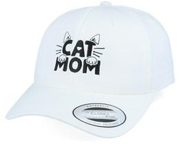 Cat Mom Logo White Curved Adjustable - Iconic