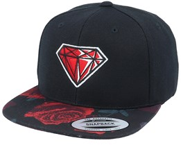 Ruby Gem Rose Red Black Snapback - Iconic