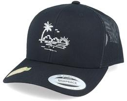 Organic Palm Beach Sunset Black Trucker - Iconic