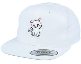 Kids 3D Frame Kitten White Snapback - Kiddo Cap