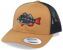 Perch Black Applique Retro Caramel Trucker - Hunter