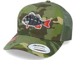Perch Black Applique Tropical Camo Trucker - Hunter