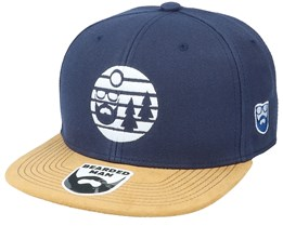 Sunset White Logo Navy/Suede Snapback - Bearded Man