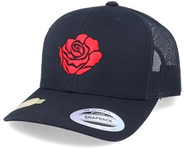 Organic Red Rose Petal Black Trucker - Iconic