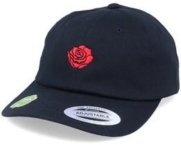 Organic Tiny Red Rose Petal Black Dad Cap - Iconic