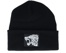 Viking Wolf Black Patch Black Beanie - Vikings