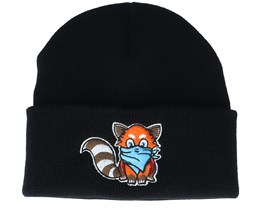 Kids Hatsie The Red Panda Black Beanie - Kiddo Cap