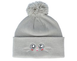 Kids Happy Eyes Light Grey Pom - Kiddo Cap