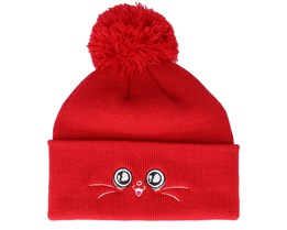 Kids Happy Eyes Red Pom - Kiddo Cap