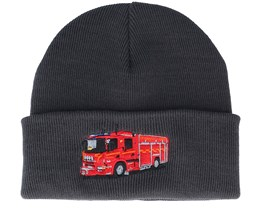 Kids Fire Truck Graphite Grey Cuff - Kiddo Cap
