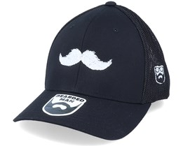 White Moustache Movember Black Trucker Flexfit - Bearded Man