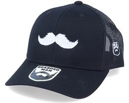 White Moustache Movember Black A-Frame Trucker - Bearded Man