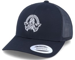 Odin Wolves Logo Black Trucker - Vikings
