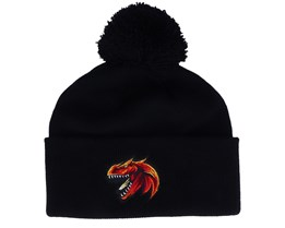 Kids Red Dinosaur Logo Black Pom - Kiddo Cap