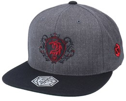 Red Dragon Crest Charcoal Grey/Black Snapback - Critiql Hit