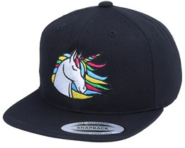 Kids Rainbow Unicorn Black Snapback - Unicorns
