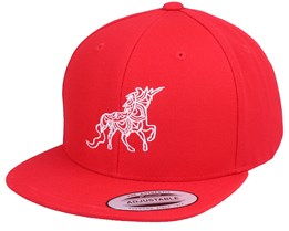 Kids Unicorn Zentangle Red Snapback - Unicorns