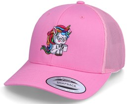 Morning Coffee Unicorn Retro Pink Trucker - Unicorns