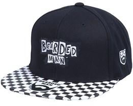 British Punk Logo Black/Checked Brim Snapback - Bearded Man