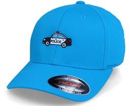 Kids Police Car Sky Blue Flexfit - Kiddo Cap