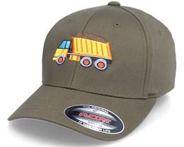 Kids Dump Truck Olive Flexfit - Kiddo Cap