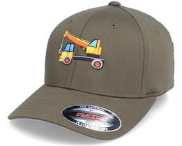 Kids Crane Vehicle Olive Flexfit - Kiddo Cap