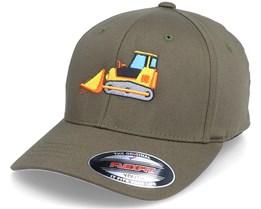 Kids Bulldozer Truck Olive Flexfit - Kiddo Cap