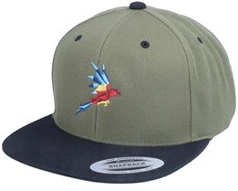 Flying Paper Parrot Coyote Olive/Black Snapback - Origami